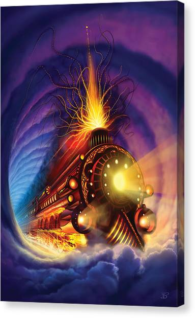 Fire Canvas Print - Ghost Train by Philip Straub