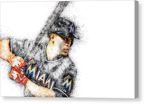Miami Marlins Canvas Print - Giancarlo Stanton by Marvin Blaine