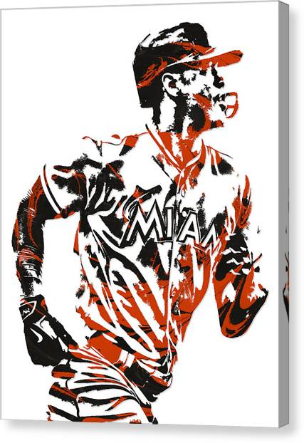 Miami Marlins Canvas Print - Giancarlo Stanton Miami Marlins Pixel Art  2  by Joe Hamilton