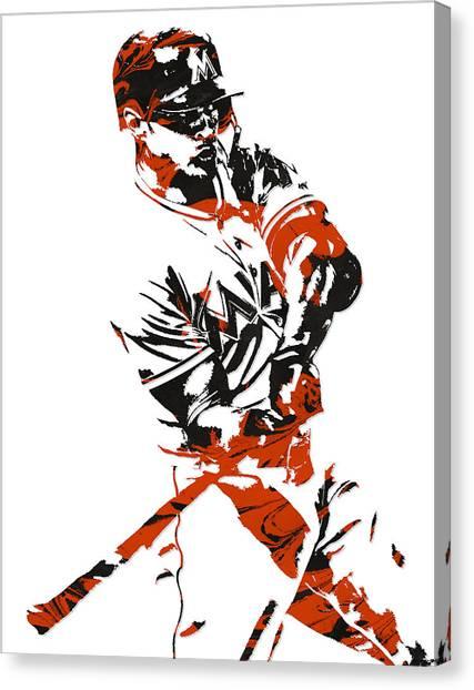 Miami Marlins Canvas Print - Giancarlo Stanton Miami Marlinspixel Art 1 by Joe Hamilton