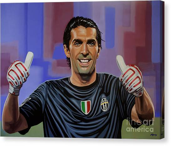 Soccer Teams Canvas Print - Gianluigi Buffon Painting by Paul Meijering