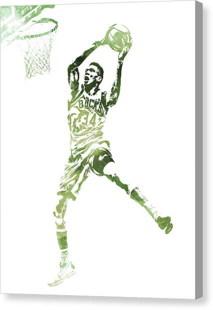 Milwaukee Bucks Canvas Print - Giannis Antetokounmpo Milwaukee Bucks Water Color Pixel Art 1 by Joe Hamilton
