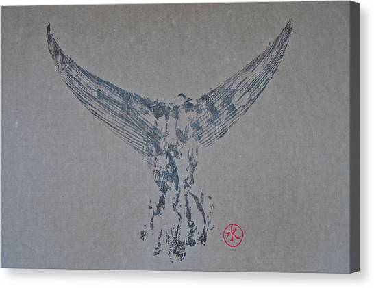 Giant Bluefin Tuna Tail On Rice Paper Canvas Print