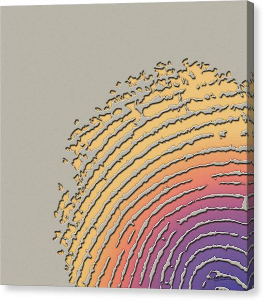 Pop Art Canvas Print - Giant Iridescent Fingerprint On Beige by Serge Averbukh
