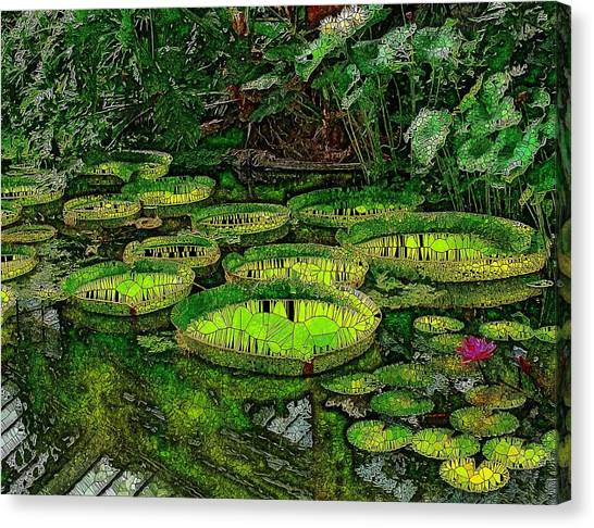 Tropical Stain Glass Canvas Print - Giant Water Lily Pads Stained Glass by Mo Barton