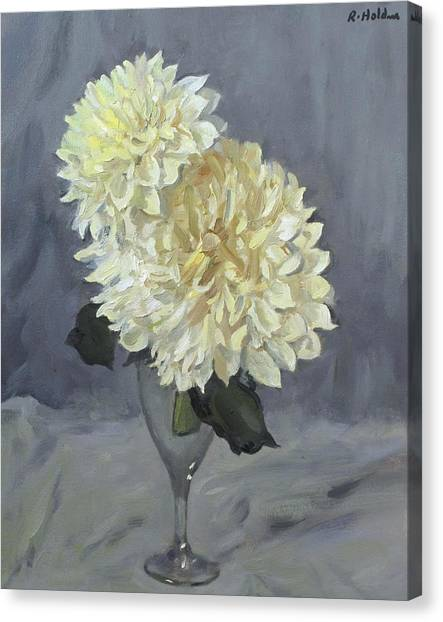 Giant White Dahlias In Wine Glass Canvas Print