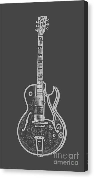 Lines Canvas Print - Gibson Es-175 Electric Guitar Tee by Edward Fielding