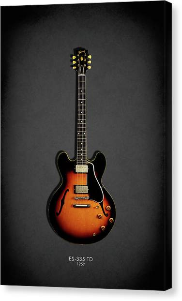 Electric Guitars Canvas Print - Gibson Es 335 1959 by Mark Rogan