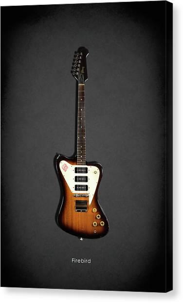 Bass Guitars Canvas Print - Gibson Firebird 1965 by Mark Rogan