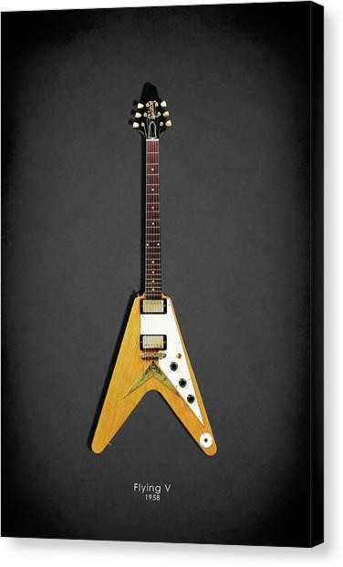 Fender Guitars Canvas Print - Gibson Flying V by Mark Rogan