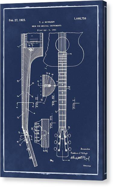 Slide Guitars Canvas Print - Gibson Guitar Patent 1923 Blue by Bill Cannon
