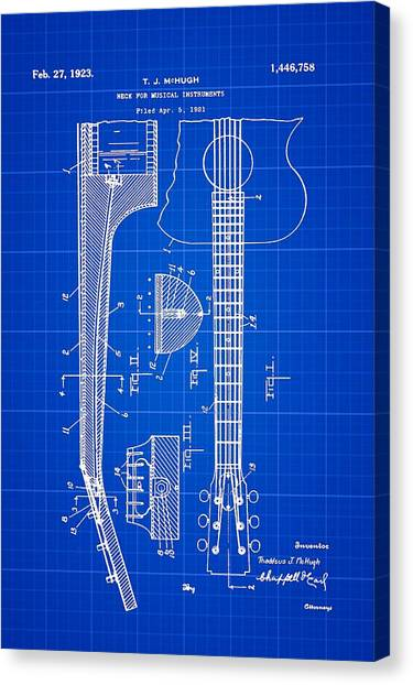 Slide Guitars Canvas Print - Gibson Guitar Patent 1923 Blue Print by Bill Cannon