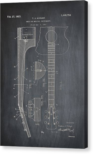Slide Guitars Canvas Print - Gibson Guitar Patent 1923 Chalk by Bill Cannon