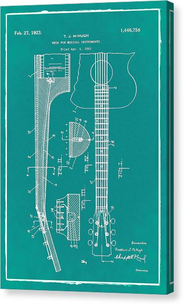 Slide Guitars Canvas Print - Gibson Guitar Patent 1923 Green by Bill Cannon