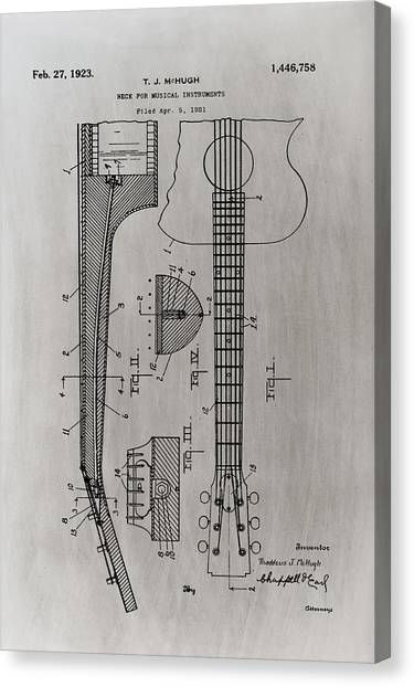 Slide Guitars Canvas Print - Gibson Guitar Patent 1923 Light Sepia by Bill Cannon