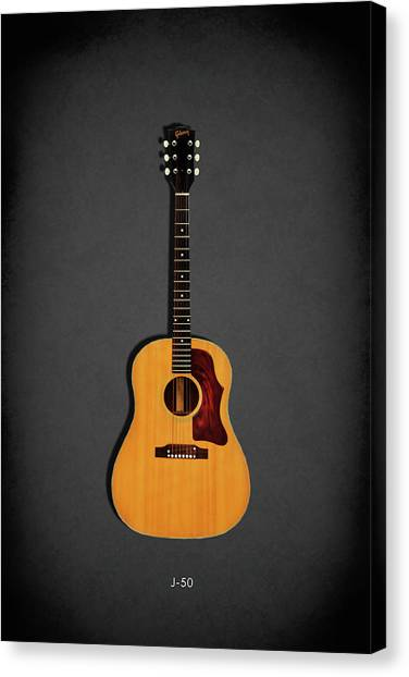 Acoustic Guitars Canvas Print - Gibson J-50 1967 by Mark Rogan