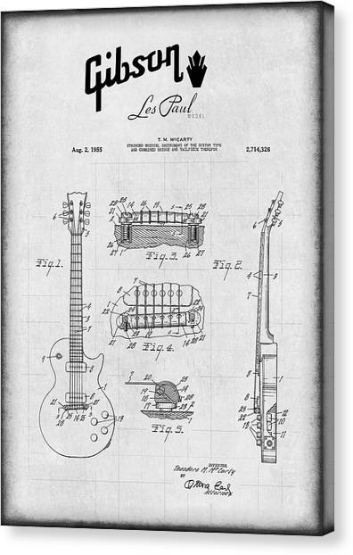 Notable Canvas Print - Gibson Les Paul Electric Guitar Patent 1955 by Daniel Hagerman