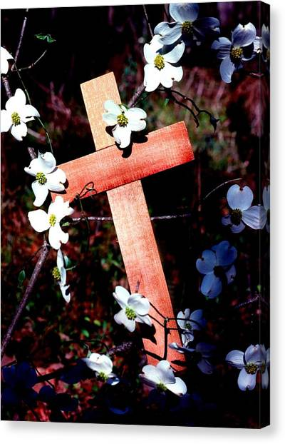 Gift Cross And Dogwood Canvas Print