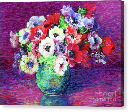 Wedding Bouquet Canvas Print - Gift Of Anemones by Jane Small