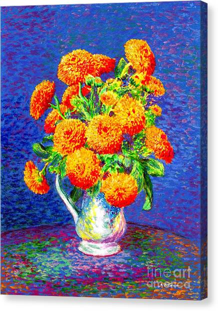 Happy Birthday Canvas Print - Gift Of Gold, Orange Flowers by Jane Small