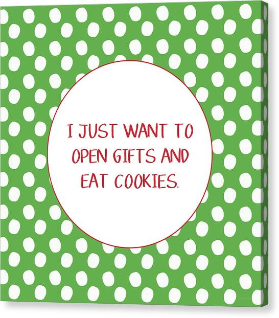 Presents Canvas Print - Gifts And Cookies- Art By Linda Woods by Linda Woods