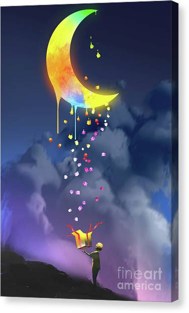 Canvas Print featuring the painting Gifts From The Moon by Tithi Luadthong
