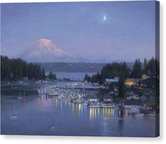 Mount Rainier Canvas Print - Gig Harbor Evening Reflections by Ezra Suko