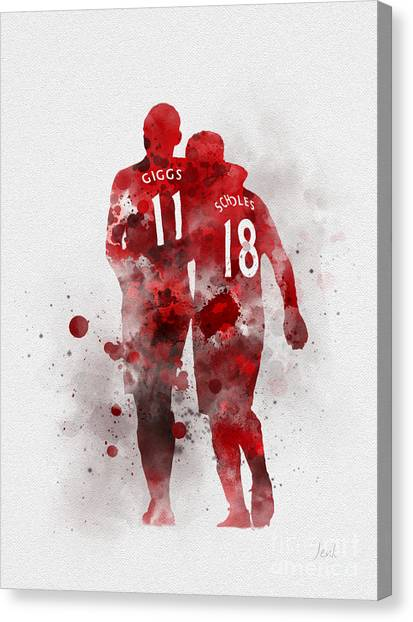 Soccer Teams Canvas Print - Giggsy And Scholesy by Rebecca Jenkins