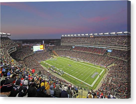 Patriot League Canvas Print - Gillette Stadium And New England Patriots by Juergen Roth