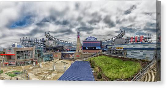 New England Revolution Canvas Print - Gillette Stadium And The Hall At Patriot Place by Brian MacLean