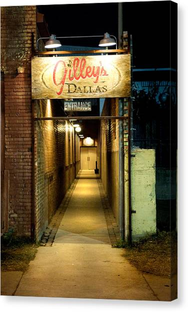 Gilleys Of Dallas At Night Canvas Print by Michelle Shockley