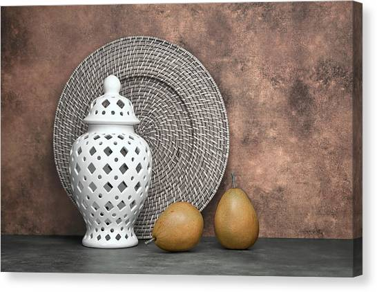 Pears Canvas Print - Ginger Jar With Pears I by Tom Mc Nemar