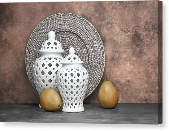 Ginger Canvas Print - Ginger Jar With Pears II by Tom Mc Nemar