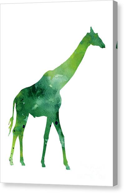 Birthday Canvas Print - Giraffe African Animals Gift Idea by Joanna Szmerdt