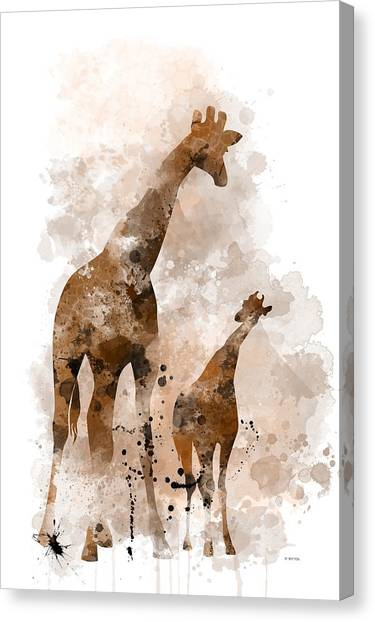 Giraffe And Baby Canvas Print