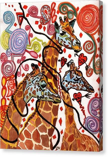 Giraffe Birthday Party Canvas Print
