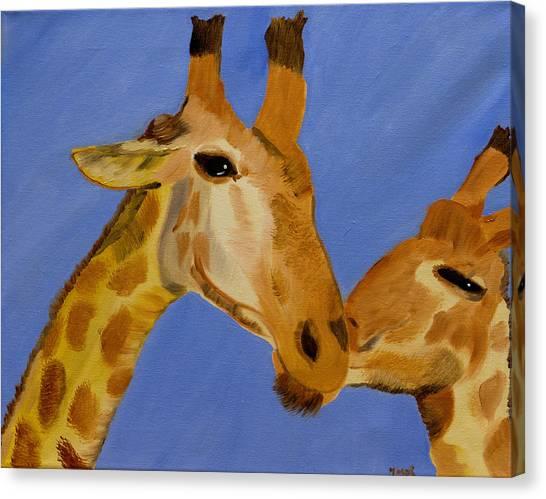 Giraffe Bonding Canvas Print