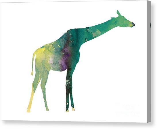 Giraffes Canvas Print - Giraffe Colorful Watercolor Painting by Joanna Szmerdt