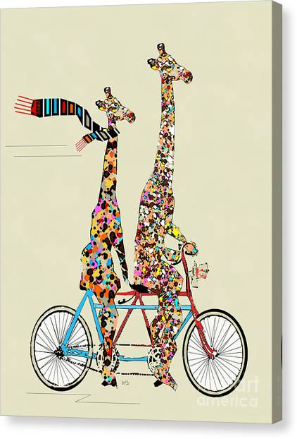 Giraffe Days Lets Tandem Canvas Print