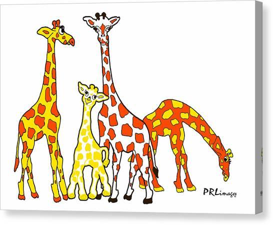 Giraffe Family Portrait In Orange And Yellow Canvas Print