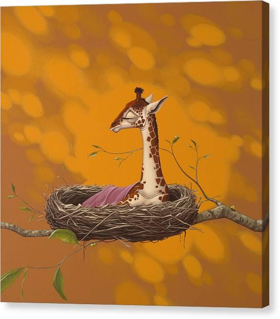New Baby Canvas Print - Giraffe by Jasper Oostland