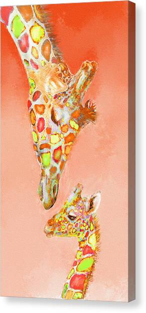 Giraffe Love- Orange Canvas Print