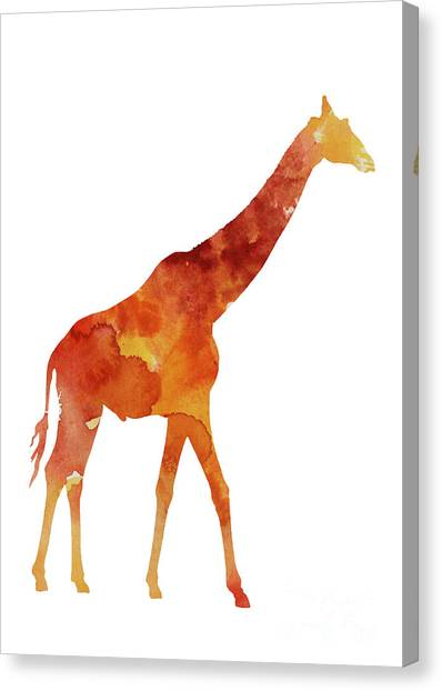 Giraffes Canvas Print - Giraffe Minimalist Painting For Sale by Joanna Szmerdt