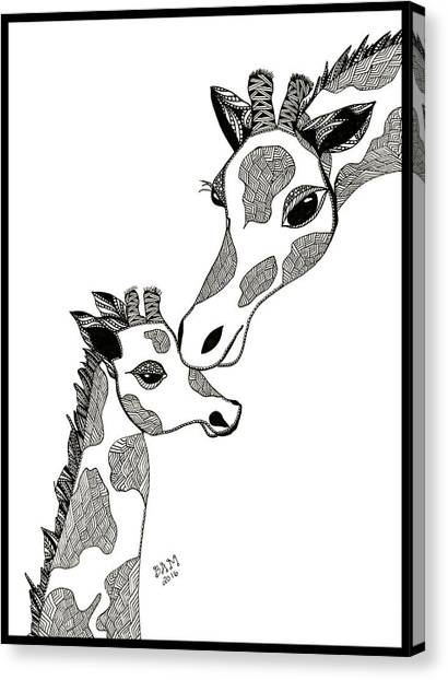 Giraffe Mom And Baby Canvas Print