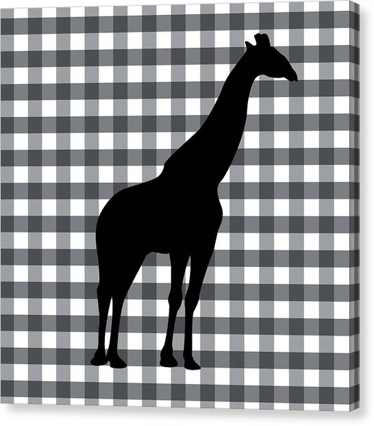 Country Canvas Print - Giraffe Silhouette by Linda Woods