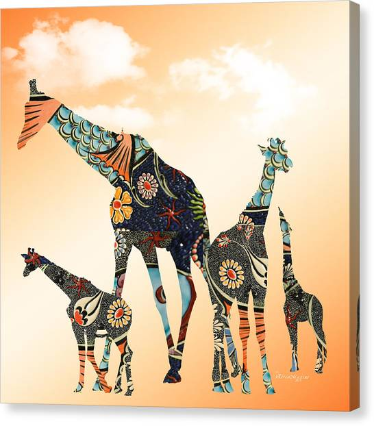 Giraffe Stroll Canvas Print