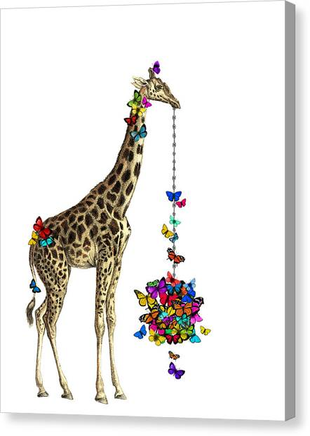 Birthday Gift Canvas Print - Giraffe With Colorful Rainbow Butterflies by Madame Memento