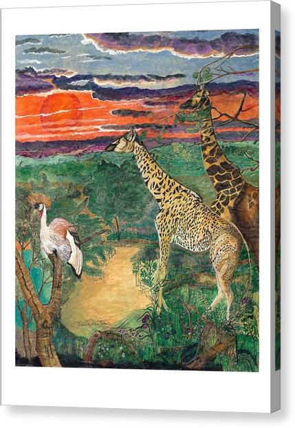 Giraffe's Gallop Canvas Print by Everna Taylor