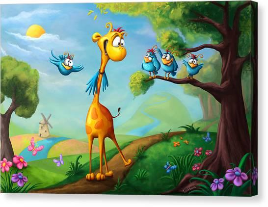 Colorful Bird Canvas Print - Giraffraf by Tooshtoosh