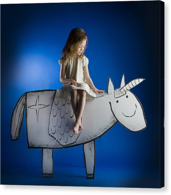 Mythological Creatures Canvas Print - Girl And Her Unicorn by Eva Miliuniene